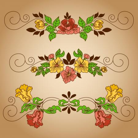 Set of vignettes with floral ornament