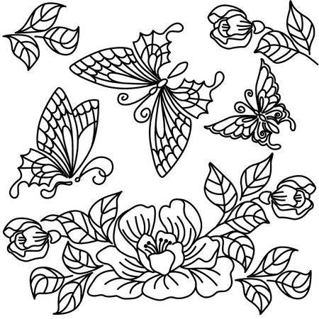 Flowers and butterflies. Black-and-white drawing. Stock Vector - 23865779