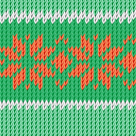 Christmas illustration. Handmade knitted fabric green. Red floral ornament. Vector