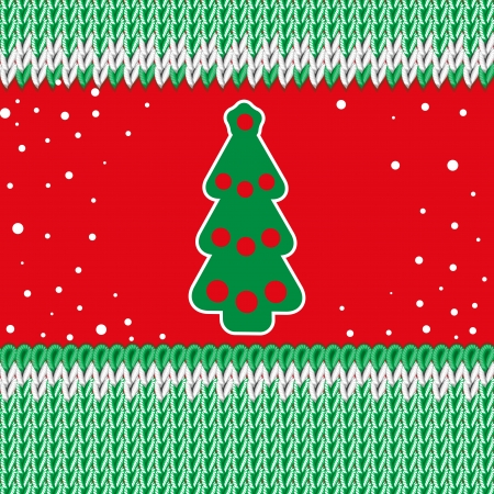 Christmas illustration. Handmade knitted fabric green. Red background. Christmas tree. Vector