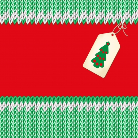 Christmas illustration. Handmade knitted fabric green. Red background. Label with a Christmas tree.