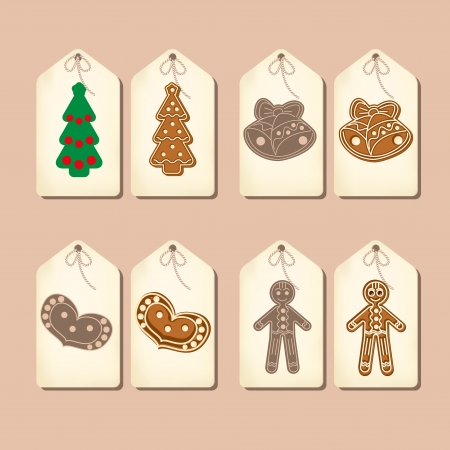 Set of labels in the old style. Beige paper, Christmas pictures. Vector