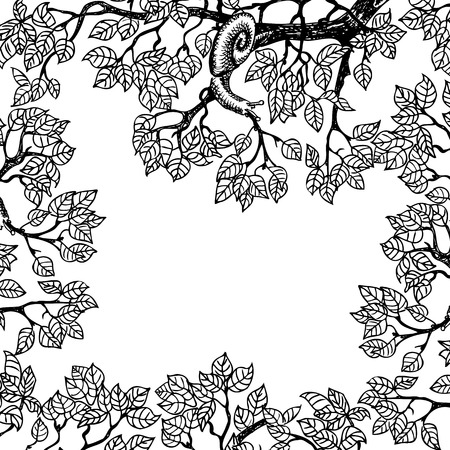 invertebrates: Snail crawling on a branch. Foliage of a tree. Stylized drawing.