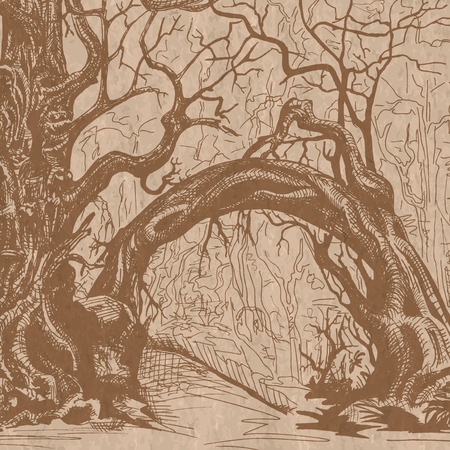 thicket: Thicket. Felled trees. Stylized drawing on craft paper.
