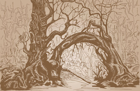 copse: Thicket. Felled trees. Stylized drawing on craft paper.