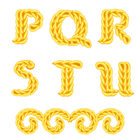 letters of knit handmade alphabet on white background