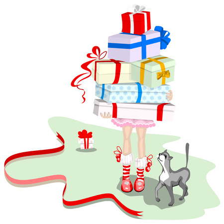 A girl carries a lot of boxes of gifts. Cat. Vector