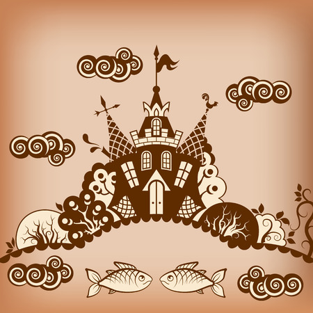 Fairytale castle. Trees, pond, fish, clouds. Black and white drawing. Illustration