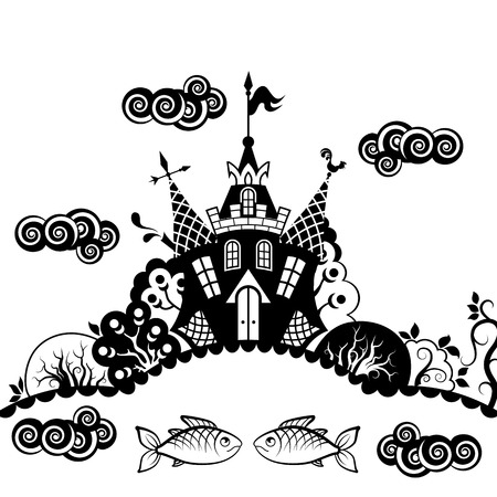 fantasy castle: Fairytale castle. Trees, pond, fish, clouds. Black and white drawing. Illustration