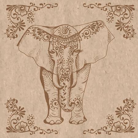 spiral: Een gestileerde tekening van een olifant. Traditioneel geschilderd in florale stijl. Mehendi.