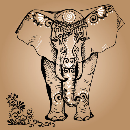 indian ink: A stylized drawing of an elephant. Traditional painted in floral style. Mehendi.
