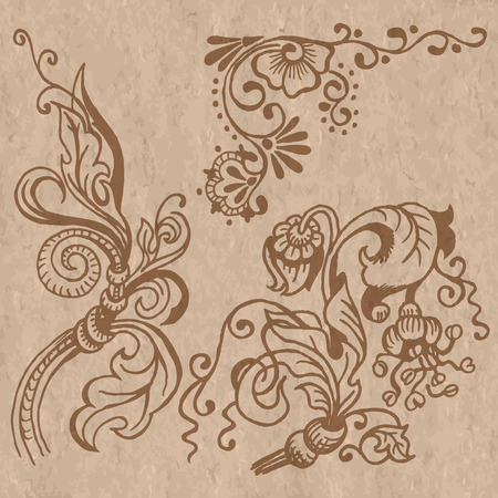 Drawing. Stylized floral pattern. Mehendi. Vector