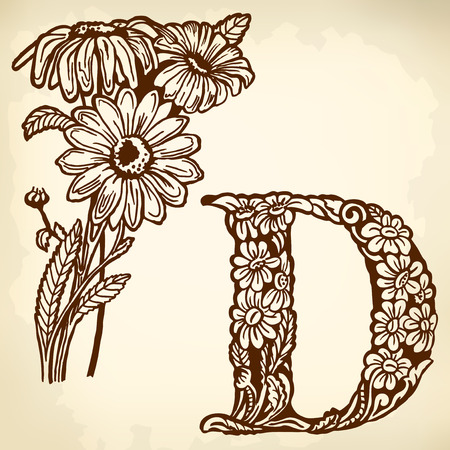 Letter of the alphabet D. A buch of a daisy with flowers and leaves. Illustration