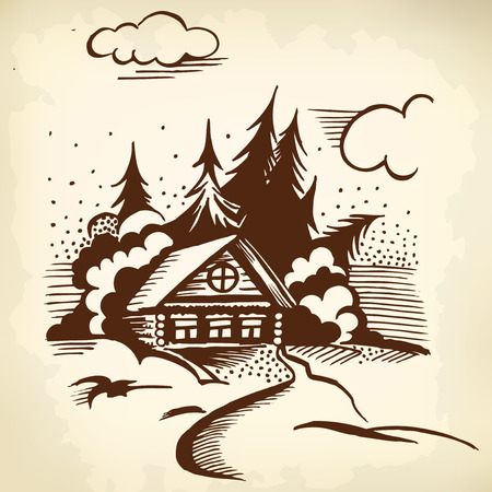 Winter landscape. The cabin, trees and snow. Monochrome drawing. Vector