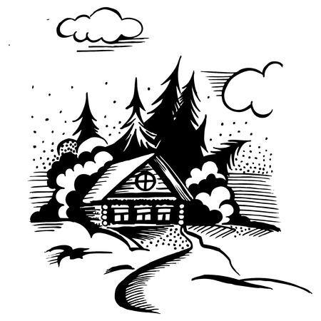 Winterlandschap. De cabine, bomen en sneeuw. Zwart-wit tekening.