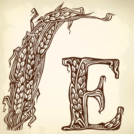 sheaf: Sheaf, ears and the letter E. drawings.
