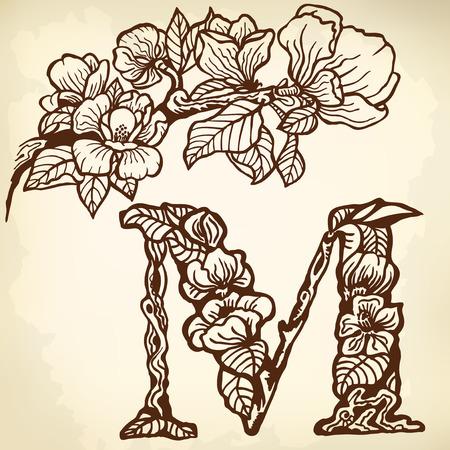 Twig of magnolia flowers and leaves. Litera M. Zdjęcie Seryjne - 33740562