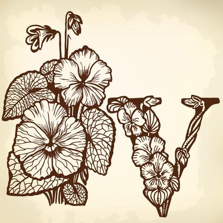 Bouquet of violets, flowers and leaves. Litera V. Zdjęcie Seryjne - 33740679