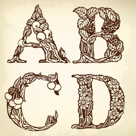 parchment texture: Set of letters of the alphabet. Drawing. Vintage.