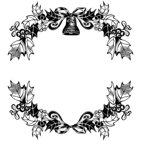Christmas wreath - bell, ribbon and branches of holly. Vector