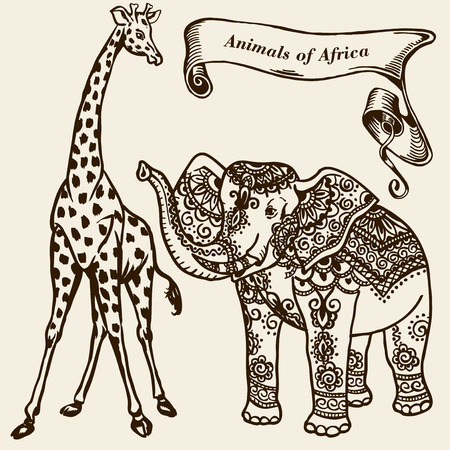 nose close up: Animals of Africa - an elephant and a giraffe. Ribbon with the inscription.