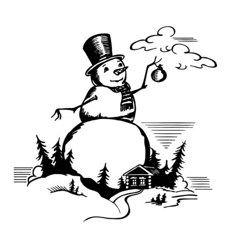 Large snowman with Christmas ball. House and trees.