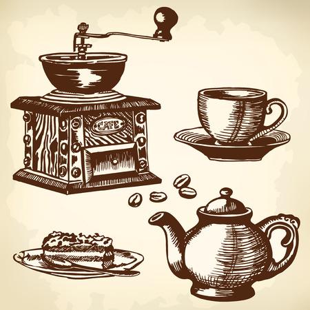 molino de agua: Artículos para cocinar y beber café. Dibujo. Vectores