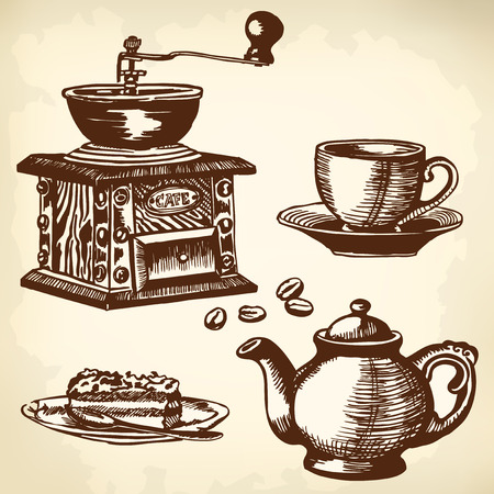 watermill: Items for cooking and drinking coffee. Drawing. Illustration