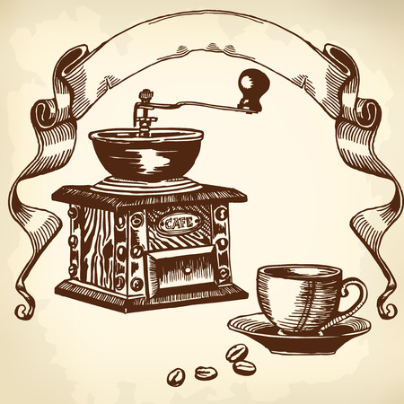 commercial kitchen: Items for cooking and drinking coffee. Drawing. Illustration