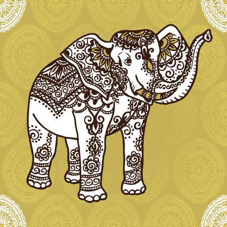 siluetas de elefantes: Elefante con un patrón tradicional al estilo de mehendi. India. Vectores