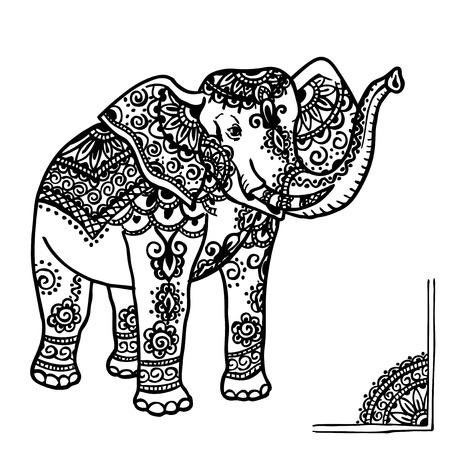 siluetas de elefantes: Elefante con un patr�n tradicional al estilo de mehendi. India. Vectores