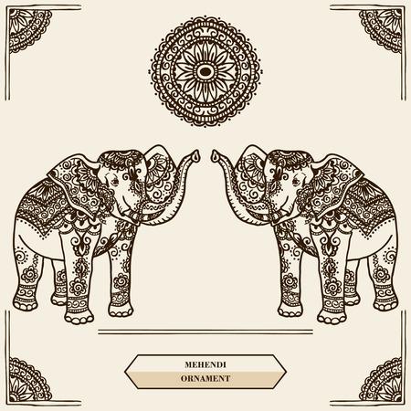 siluetas de elefantes: Elefante con el patrón en el estilo de mehendi. India. Vectores