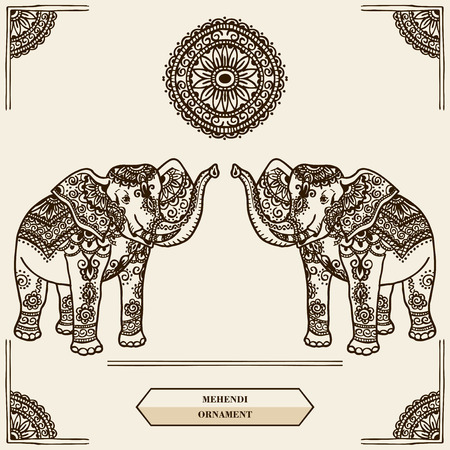 Elephant with pattern in the style of mehendi. India. Vector