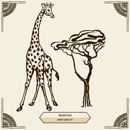 tall tree: Tall giraffe and tree. Floral pattern in the style of mehendi.