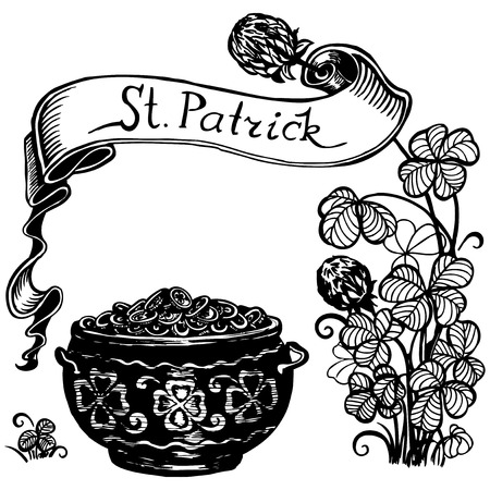 Clover, a cauldron of money and ribbon with the inscription. Vector