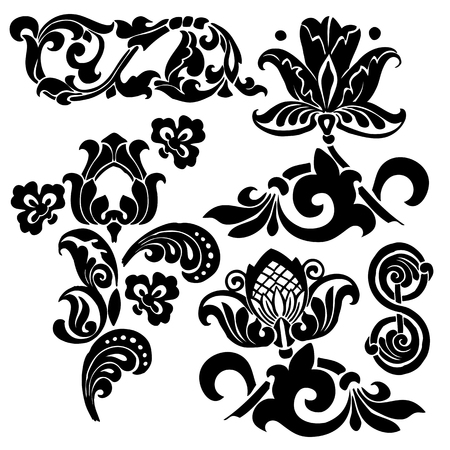 architectural styles: Ornament in Art Nouveau style. Set of elements.