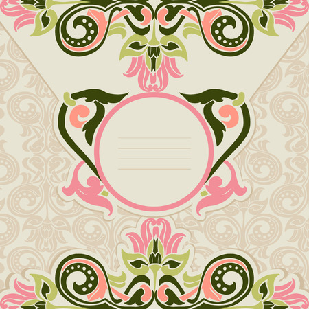 architectural styles: Ornament in Art Nouveau style. Template for the invitation. Illustration