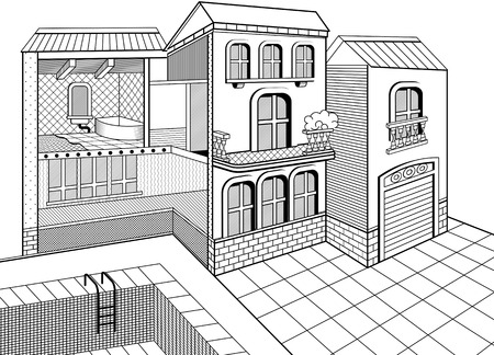 Cross section of a 2 storey house. Inside and outside elements. Vector