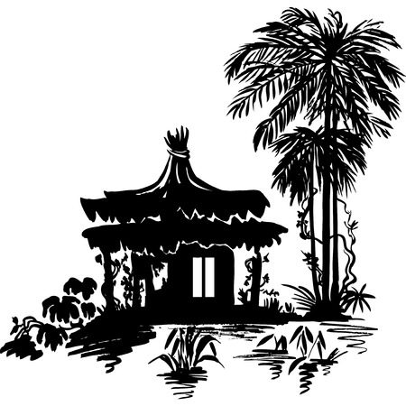 Bungalow under a palm tree near the water. Monochrome drawing.