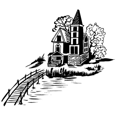gable: Landscape - house by the river. Wooden bridge. Color drawing.