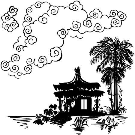bungalow: Bungalow under a palm tree near the water. Monochrome drawing.