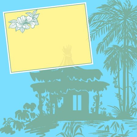 bungalow: Bungalow under a palm tree near the water. Color drawing. Illustration