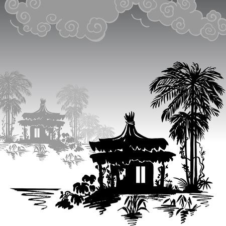 Bungalow under a palm tree near the water. Monochrome drawing. Vektoros illusztráció