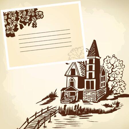 gable: Landscape - house by the river. Wooden bridge. Monochrome drawing. Illustration