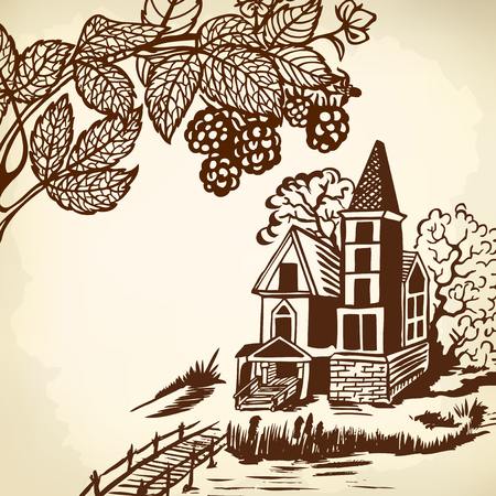 gable: Landscape - house by the river. Wooden bridge. Monochrome drawing. Illustration