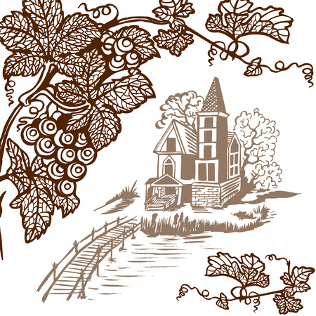 english culture: Landscape - house by the river. Wooden bridge. Monochrome drawing. Illustration