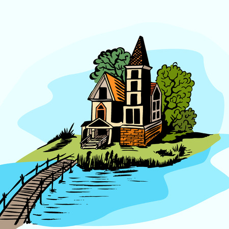 english countryside: Landscape - house by the river. Wooden bridge. Color drawing.