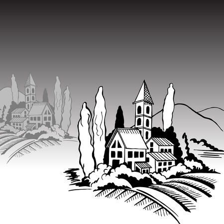 Southern landscape - houses, mountains cypresses. Black-and-white drawing.
