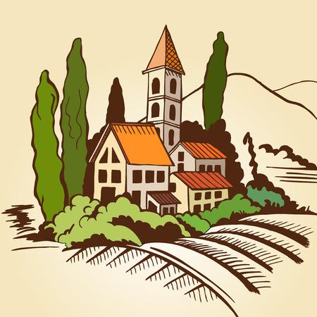 Paysage du sud - maisons et des montagnes et de cyprès. Dessin couleur. Banque d'images - 37493703