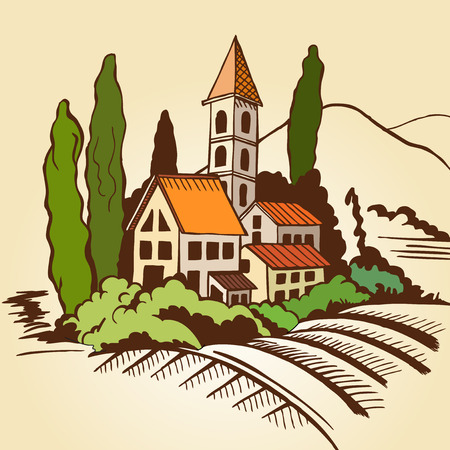 landscape architecture: Southern landscape - houses and mountains and cypresses. Color drawing.